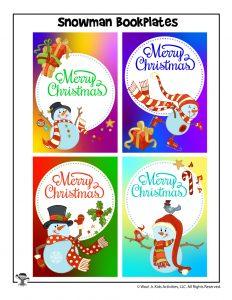 Colorful Merry Christmas Bookplates