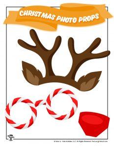 Reindeer Antlers & Nose Candycane Photo Prop