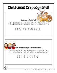 Christmas Song Word Puzzle Game - ANSWER KEY