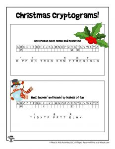 Christmas Carols Printable Puzzle Game