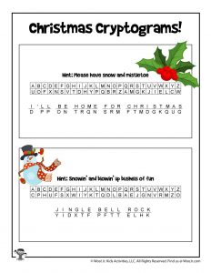 Christmas Carols Printable Puzzle Game - ANSWER KEY