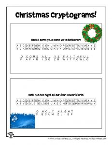 Christmas Carols Cryptogram Game - ANSWER KEY