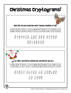 Christmas Word Puzzle Secret Codes - ANSWER KEY