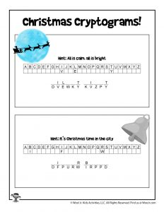 Printable Christmas Cryptogram Puzzles