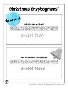Printable Christmas Cryptogram Puzzles - ANSWER KEY