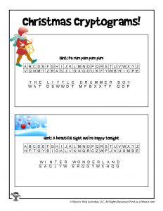 Printable Christmas Song Games - ANSWER KEY