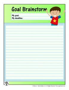 Goal Brainstorming for Kids Worksheet