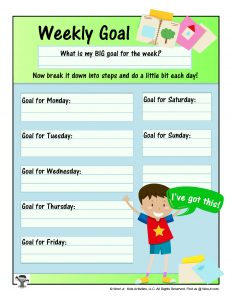 Weekly Planner Sheet for Goal Setting