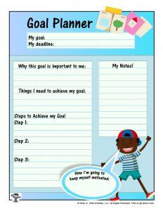 Kids Goal Planner Printable Worksheet