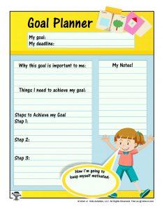Goal Planner Worksheet for Kids