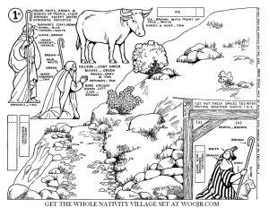 Shepherd, Sheep & Ox on Hillside Nativity Scene