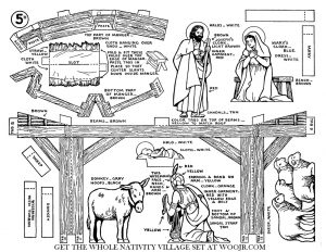 Joseph, Mary & Baby Jesus in Manger on Christmas Eve