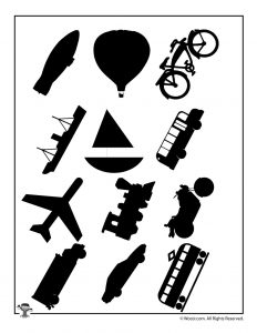 Modes of Transportation Silhouette Printables