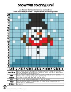 Winter Snowman Grid Coloring Page - ANSWER KEY