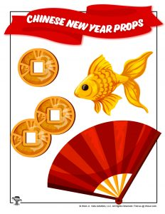 Chinese New Year Luck Coins, Fish & Fan