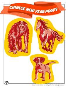 Chinese Zodiac Monkey, Horse, Dog Props