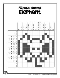 Elephant Pixel Art for Kids - ANSWER KEY