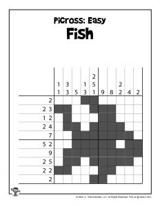 Fish Printable Picross Brain Game Puzzle - ANSWER