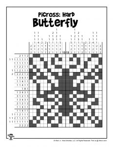 Butterfly Difficult Picross Puzzle - ANSWER KEY