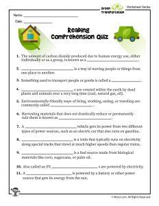 Green Reading Comprehension Quiz for School