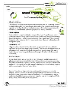 Green Transportation for Kids Lesson Printable