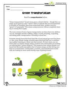 Green Transportation Worksheet