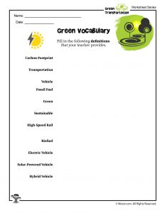 Green Vocabulary Fill in the Blank