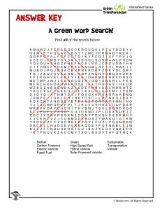 Green Word Search - ANSWER KEY
