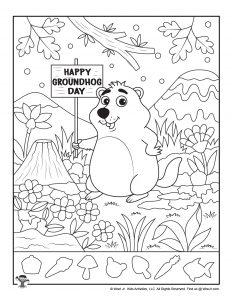 Groundhog Day Hidden Shapes Printable