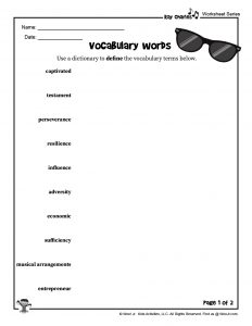 Ray Charles Vocabulary Word List I