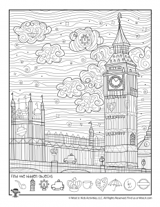 London Big Ben Hidden Activity Page