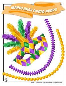 Mardi Gras Beads & Mask Printable Photo Prop