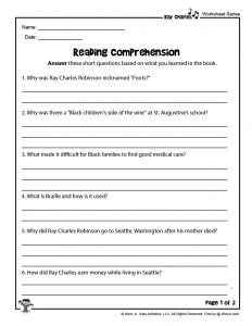 Ray Charles by Sharon Bell Mathis Reading Comprehension Questions I