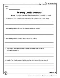 Ray Charles by Sharon Bell Mathis Reading Comprehension Questions II