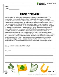 St. Patrick's Day Elementary School Reading Worksheet