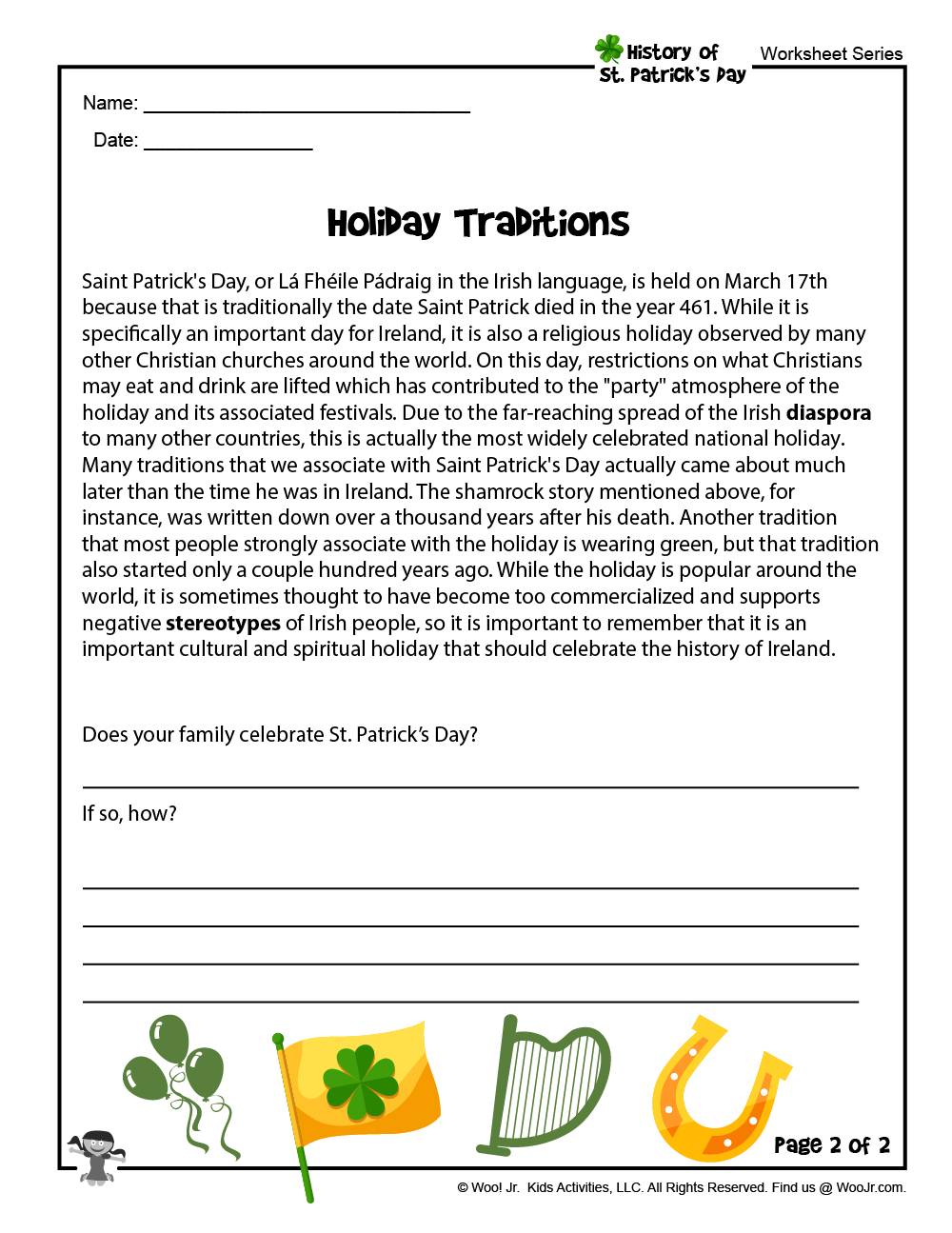 - St. Patrick's Day Elementary School Reading Worksheet Woo! Jr. Kids  Activities