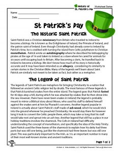 St. Patrick's Day History for Kids