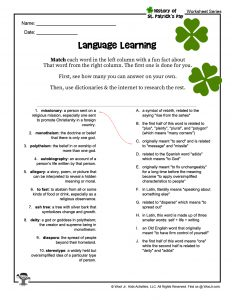 St. Patrick's Day Language Matching Printable Activity