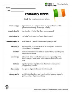St. Patrick's Day Vocab Words Printable