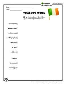 St. Patrick's Day Vocabulary Printout