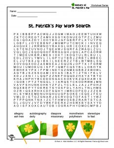 St. Patrick's Day Printable Word Search