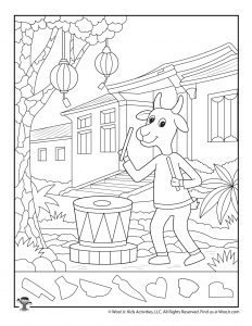 Chinese New Year of the Goat Hidden Pictures Worksheet