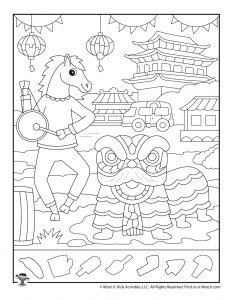 Year of the Horse Hidden Shapes Worksheet