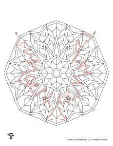 Printable Mandala Maze for Kids - KEY