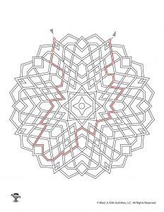 Mandala Labyrinth Kids Activity Page - KEY