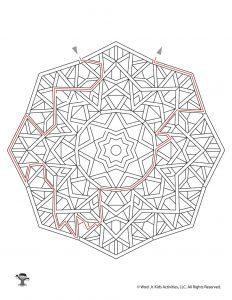 Mandala Maze Printable Page - KEY
