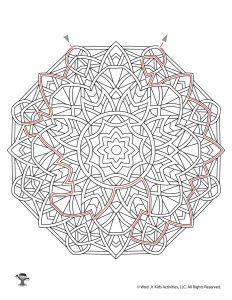 Mandala Printable Maze Worksheet - KEY
