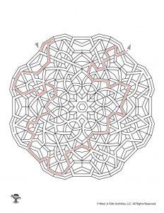 Mandala Printable Maze Activity - KEY