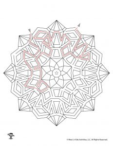 Mandala Maze Activity Page for Kids - KEY
