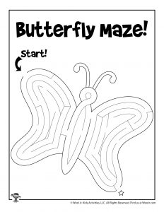 Butterfly Spring Maze Kids Activity Page